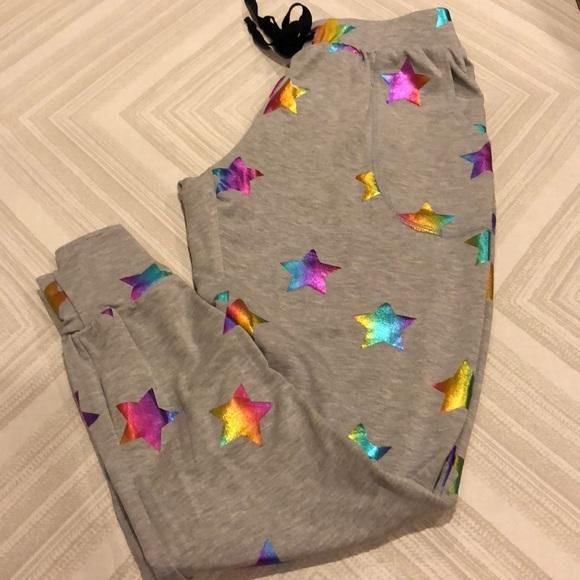 c4249e1d21 Terez Gray Star Colored Foil Printed Jogger Pants NWT